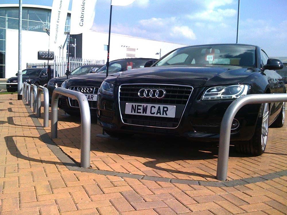 Barrier systems and gates in use for a leading car supplier on showroom car park supplied by Bollard Street.