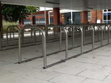 Bicycle, cycle and motor cycle stands in use for client supplied by Bollard Street to provide security for cycles.