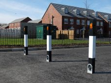 Street furniture parking posts in use in residential area to control parking supplied by Bollard Street.
