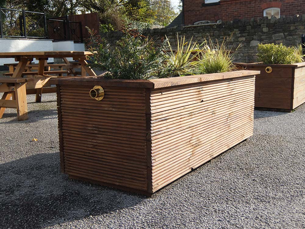 Bollard Street supply pots, planters & flower beds, this brown planter was supplied for a client by Bollard Street.