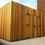 Commercial bin store in use by a client supplied by Bollard Street to keep bins out of sight on company car park.
