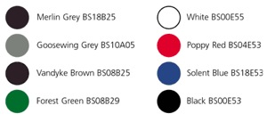 Colourcoat HPS200 standard cladding colours swatch