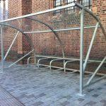 Quartermoon shelter by Bollard Street, UK Street Furniture Specialists