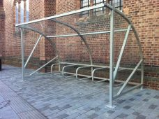 Quartermoon shelter by Bollard Street, UK Street Furniture Specialists