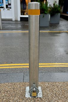 Removable padlock fixed bollard by Bollard Street, UK Street Furniture Specialists