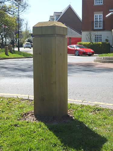 Softwood bollard with chamfered top by Bollard Street, UK Street Furniture Specialists