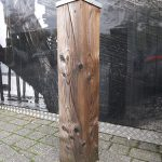 Softwood bollard with metal cap by Bollard Street, UK Street Furniture Specialists