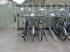 Two tier cycle rack by Bollard Street, UK Street Furniture Specialists