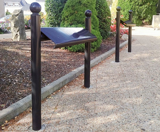 Perch bench seat by Bollard Street, UK Street Furniture Specialists