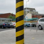 Diagonal banded protection bollard by Bollard Street, UK Street Furniture Specialists