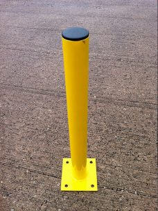 Slim base plate fix bollard by Bollard Street, UK Street Furniture Specialists